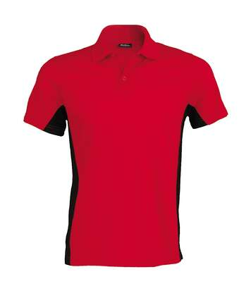 Kariban Mens Short Sleeve Flag Polo Shirt (Dual Colour) (Red/Black) - UTRW704