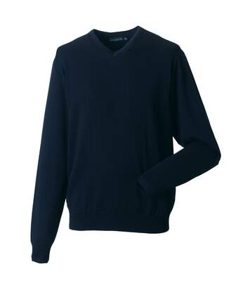 Russell Collection Mens V-Neck Knitted Pullover Sweatshirt (French Navy) - UTBC1012