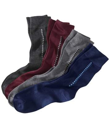 Pack of 4 Pairs of Men's  Patterned Socks - Navy Burgundy Grey