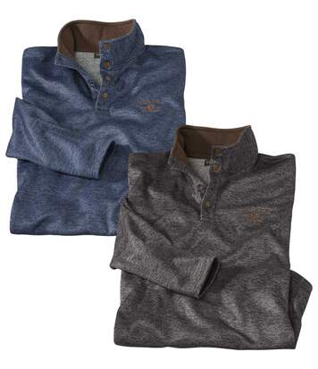 Pack of 2 Men's Brushed Fleece Jumpers – Blue Grey