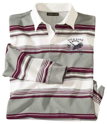 Men's Striped Eagle Print Polo Shirt - Grey Burgundy