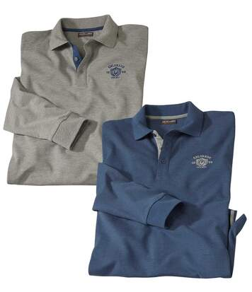 Pack of 2 Men's Long Sleeve Piqué Polo Shirts - Mottled Blue and Grey
