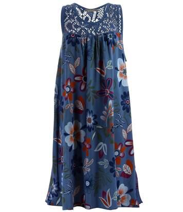 Robe été bohème grande taille Marguerite bleu jean