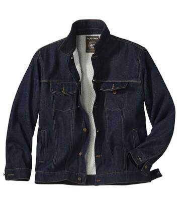 Men's Blue Denim Jacket with Sherpa Lining