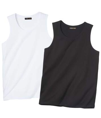 Pack of 2 Men's Leisure Vests - Black White
