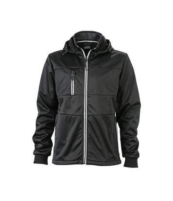 Veste softshell à capuche - homme JN1078 - noir - coupe-vent imperméable