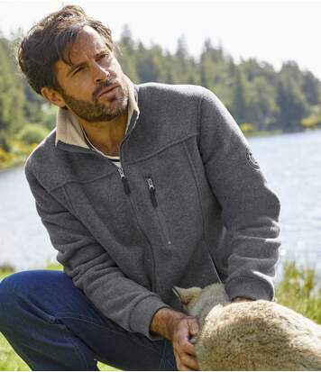 Men's Grey Sherpa-Lined Polar Fleece Jacket