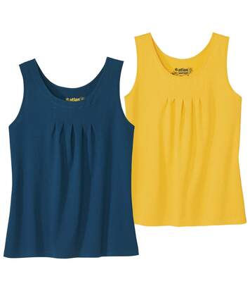 Pack of 2 Women's Plain Vest Tops - Yellow Navy