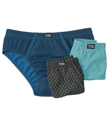 Pack of 3 Men's Patterned Briefs - Turquoise Black Blue