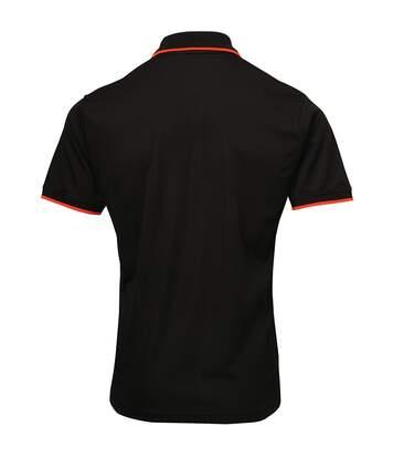 Premier Mens Contrast Coolchecker Polo Shirt (Black/Red) - UTRW5520