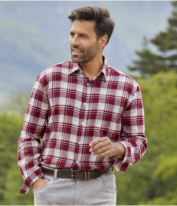 Men's Checked Flannel Shirt - Burgundy