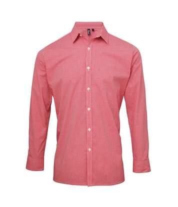 Premier Mens Microcheck Long Sleeve Shirt (Black/White) - UTRW5526