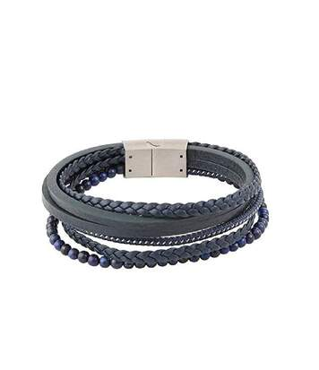 Bracelet Bleu Cuir et Perles Multi Rangées Homme Redskins