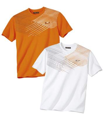 Pack of 2 Men's Sporty T-Shirts - White Orange