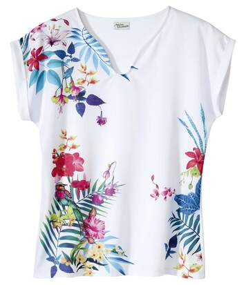 Women's White Dual Fabric T-Shirt with Tropical Print