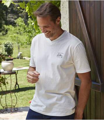 Pack of 4 Men's V-Neck Westlands T-Shirts - White Black Grey Burgundy