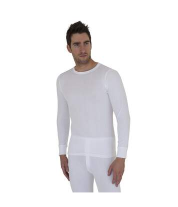 Mens Thermal Underwear Long Sleeve T Shirt Top Polyviscose Range (British Made) (White) - UTTHERM12