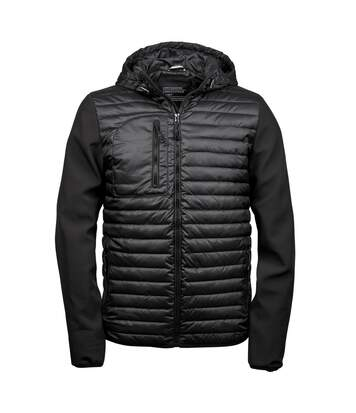 Teejays Mens Hooded Full Zip Crossover Jacket (Black) - UTBC3836