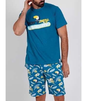 Pyjama short t-shirt Tucan bleu Admas