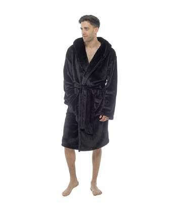 Foxbury Mens Hooded Shimmer Fleece Robe (Black) - UTUT547