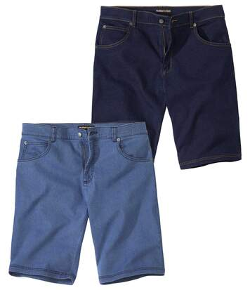 Pack of 2 Men's Stretchy Denim Shorts - Blue