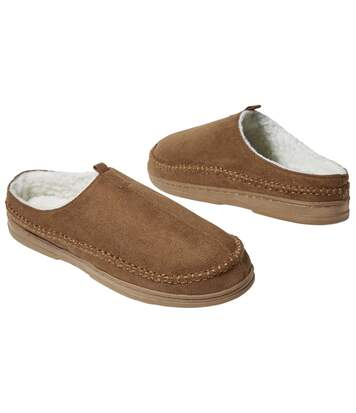 Men's Brown Faux Suede and Sherpa Slippers
