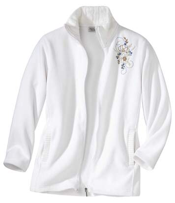 Women's White Fleece & Cable Knit Jacket