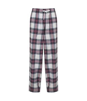 SF Womens/Ladies Tartan Lounge Pants (White/Pink) - UTPC3383