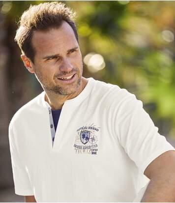 2er-Pack T-Shirts Tropical Legend mit Doppelkragen