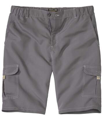 Men's Grey Microfibre Cargo Shorts