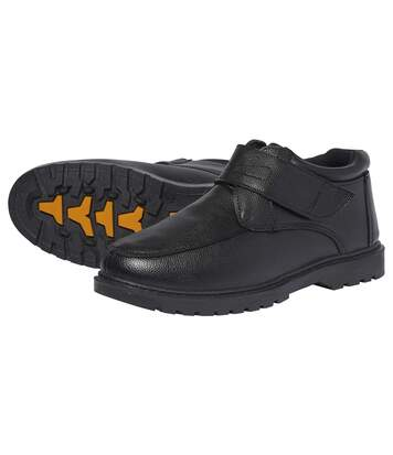 Men's Black Leather Moccasins - Hook and Loop Fastening