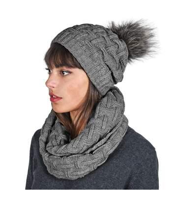 Snood et bonnet Nora - Couleur - Ardoise - Fabriqué en europe