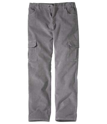 Men's Grey Stretch Corduroy Trousers