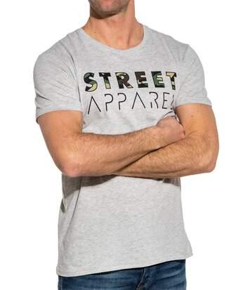 T-shirt homme gris street imprimé camouflage