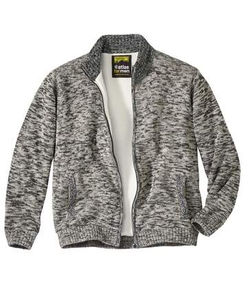 Men's Grey Full Zip Knitted Jacket- Sherpa Lining