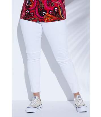 ULLA POPKEN jean skinny avec ourlet à franges en denim stretch blanc NEW