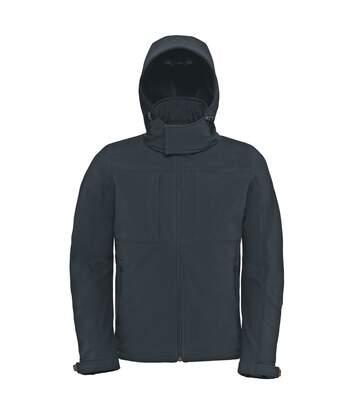 B&C Mens Hooded Softshell Breathable, Waterproof & Windproof Jacket (Fleece Lining) (Dark Grey) - UTBC2001