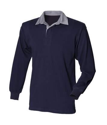 Front Row - T-Shirt De Rugby À Manches Longues En Coton - Homme (Bleu marine/Col gris) - UTRW473