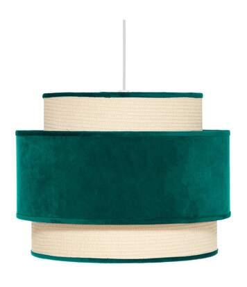 Atmosphera - Luminaire Suspension en Velours Vert cèdre D 38 cm
