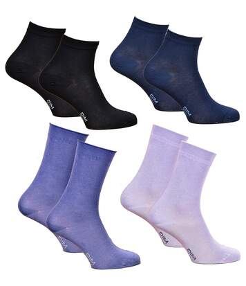 Chaussettes femme DIM en Coton Confort et Elegance -Assortiment modèles photos selon arrivages- Pack de 4 paires Sensation Soie