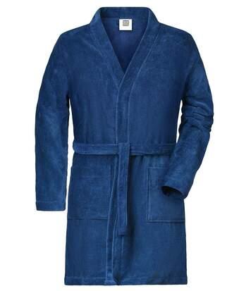 Peignoir court en coton bio peigné pour homme - MB448 - bleu marine