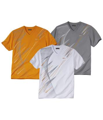 Pack of 3 Men's Print V-Neck Sports T-Shirts - White Grey Orange