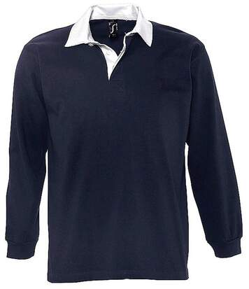 Polo rugby manches longues HOMME - 11313 - bleu marine