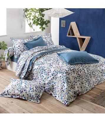 Parure de lit 260x240 cm 100% coton BAGATELLE bleu Encre 3 pièces