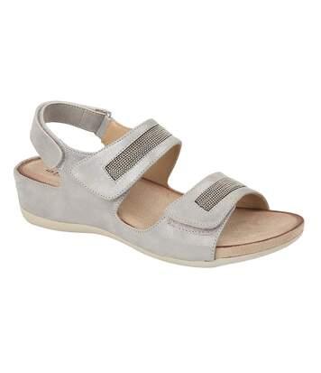 Boulevard Womens/Ladies Triple Touch Fastening Sandals (Light Silver) - UTDF1566