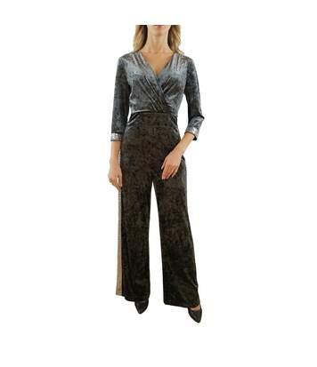 PAOLA SORMANI Combinaison en velours avec éléments en stretch tricotés, bordure en sequins gris