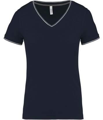 T-shirt manches courtes coton piqué col V K394 - bleu marine grey - femme