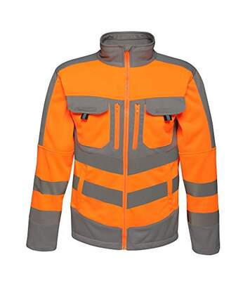 Regatta Mens Hi Vis Tactical Reflective Stretch Fleece (Orange/Grey) - UTRG3985