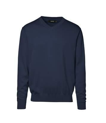 Id - Pull À Col En V (Coupe Régulière) - Homme (Bleu marine) - UTID127