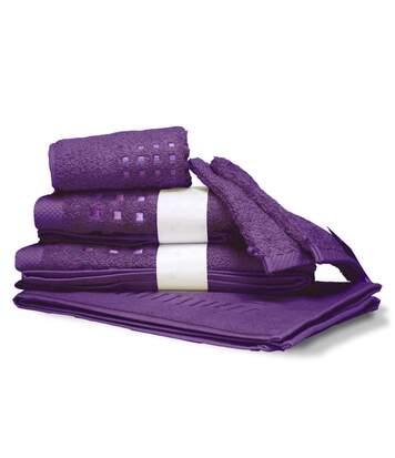 Parure de bain 6 pièces PURE SQUARES Violet 550 g/m2